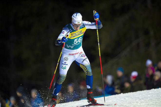 """CALLE HALFVARSSON på väg till en 45:e plats på första etappen av """"Ski Tour 2020"""". Nu är Sågmyra-åkaren ute ur hela touren. Foto: NORDIC FOCUS"""