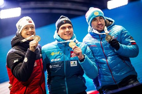 13.02.2020, Antholz, Italy (ITA):Johannes Thingnes Boe (NOR), Arnd Peiffer (GER), Alexander Loginov (RUS), (l-r) - IBU world championships biathlon, medals, Antholz (ITA). www.nordicfocus.com. © Modica/NordicFocus. Every downloaded picture is fee-liable