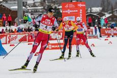02.02.2020, Seefeld, Austria (AUT):Joergen Graabak (NOR), Vinzenz Geiger (GER), Jens Luraas Oftebro (NOR) (l-r)  - FIS world cup nordic combined, individual gundersen HS109/15km, Seefeld (AUT). www.nordicfocus.com. © Volk/NordicFocus. Every downloaded p