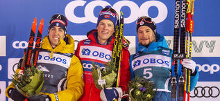 18.02.2020, Are, Sweden (SWE):Federico Pellegrino (ITA), Johannes Hoesflot Klaebo (NOR), Renaud Jay (FRA), (l-r) - FIS world cup cross-country, individual sprint, Are (SWE). www.nordicfocus.com. © Thibaut/NordicFocus. Every downloaded picture is fee-lia