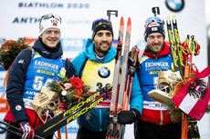 19.02.2020, Antholz, Italy (ITA):Johannes Thingnes Boe (NOR), Martin Fourcade (FRA), Dominik Landertinger (AUT), (l-r) - IBU World Championships Biathlon, individual men, Antholz (ITA). www.nordicfocus.com. © Modica/NordicFocus. Every downloaded picture