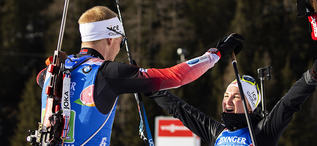 20.02.2020, Antholz, Italy (ITA):Johannes Thingnes Boe (NOR), Marte Olsbu Roeiseland (NOR), (l-r) - IBU World Championships Biathlon, single mixed relay, Antholz (ITA). www.nordicfocus.com. © Manzoni/NordicFocus. Every downloaded picture is fee-liable.