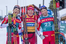 20.02.2020, Storlien-Meraker, Norway (NOR):Johannes Hoesflot Klaebo (NOR), Alexander Bolshunov (RUS), Emil Iversen (NOR), (l-r)  - FIS world cup cross-country, mass men, Storlien-Meraker (NOR). www.nordicfocus.com. © Thibaut/NordicFocus. Every downloade