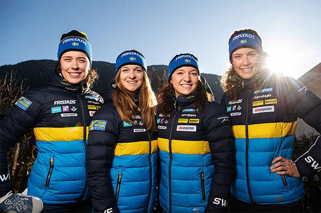 SVERIGES DAMLAG som skall jaga en efterlängtad medalj i VM-stafetten, fr v: Elvira Öberg, Mona Brorsson, Linn Persson och Hanna Öberg. Foto: BILDBYRÅN/SSSF