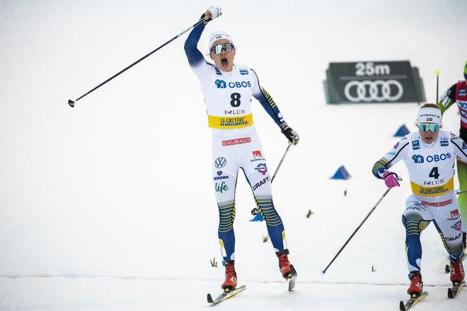 LINN SVAHN (tv) och Jonna Sundling i mål till pallplatser i Falun. Nu var dom tvåa och etta i prologen i Trondheim. Grejar båda pallen igen? Foto: NORDIC FOCUS