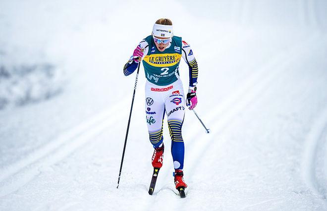 JONNA SUNDLING fixade äntligen en svensk pallplats i Ski Tour 2020 under sprinten i Trondheim. Foto: NORDIC FOCUS
