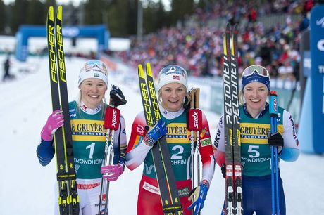 22.02.2020, Trondheim, Norway (NOR):Jonna Sundling (SWE), Maiken Caspersen Falla (NOR), Nadine Faehndrich (SUI), (l-r)  - FIS world cup cross-country, individual sprint, Trondheim (NOR). www.nordicfocus.com. © Thibaut/NordicFocus. Every downloaded pictu