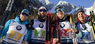 22.02.2020, Antholz, Italy (ITA):Simon Desthieux (FRA), Martin Fourcade (FRA), Emilien Jacquelin (FRA), Quentin Fillon Maillet (FRA), (l-r) - IBU world championships biathlon, relay men, Antholz (ITA). www.nordicfocus.com. © Manzoni/NordicFocus. Every d