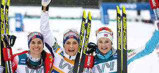 23.02.2020, Trondheim, Norway (NOR):Heidi Weng (NOR), Therese Johaug (NOR), Ingvild Flugstad Oestberg (NOR), (l-r)  - FIS world cup cross-country, pursuit women, Trondheim (NOR). www.nordicfocus.com. © Thibaut/NordicFocus. Every downloaded picture is fe