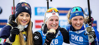 23.02.2020, Antholz, Italy (ITA):Dorothea Wierer (ITA), Marte Olsbu Roeiseland (NOR), Hanna Oeberg (SWE), (l-r) - IBU world championships biathlon, medals, Antholz (ITA). www.nordicfocus.com. © Modica/NordicFocus. Every downloaded picture is fee-liable.