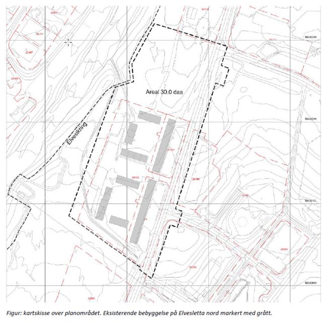 Planavgrensning for forslag Elvesletta nord