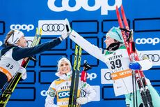 29.02.2020, Lahti Finland (FIN):Ebba Andersson (SWE), Therese Johaug (NOR), Krista Parmakoski (FIN), (l-r)  - FIS world cup cross-country, 10km women, Lahti (FIN). www.nordicfocus.com. © Modica/NordicFocus. Every downloaded picture is fee-liable.