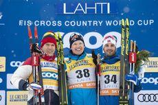 29.02.2020, Lahti Finland (FIN):Alexander Bolshunov (RUS), Iivo Niskanen (FIN), Hans Christer Holund (NOR), (l-r) - FIS world cup cross-country, 15km men, Lahti (FIN). www.nordicfocus.com. © THIBAUT/NordicFocus. Every downloaded picture is fee-liable.