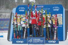 01.03.2020, Lahti Finland (FIN):Johanna Matintalo (FIN), Kerttu Niskanen (FIN), Laura Mononen (FIN), Krista Parmakoski (FIN), Tiril Udnes Weng (NOR), Ingvild Flugstad Oestberg (NOR), Therese Johaug (NOR), Heidi Weng (NOR), Charlotte Kalla (SWE), Frida Ka