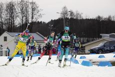 26.02.2020, Minsk-Raubichi, Belarus (BLR):Ingela Andersson (SWE), Camille Bened (FRA), (l-r) - IBU Open European Championships Biathlon, SuperSprint women, Minsk-Raubichi (BLR). www.nordicfocus.com. © Manzoni/NordicFocus. Every downloaded picture is fee