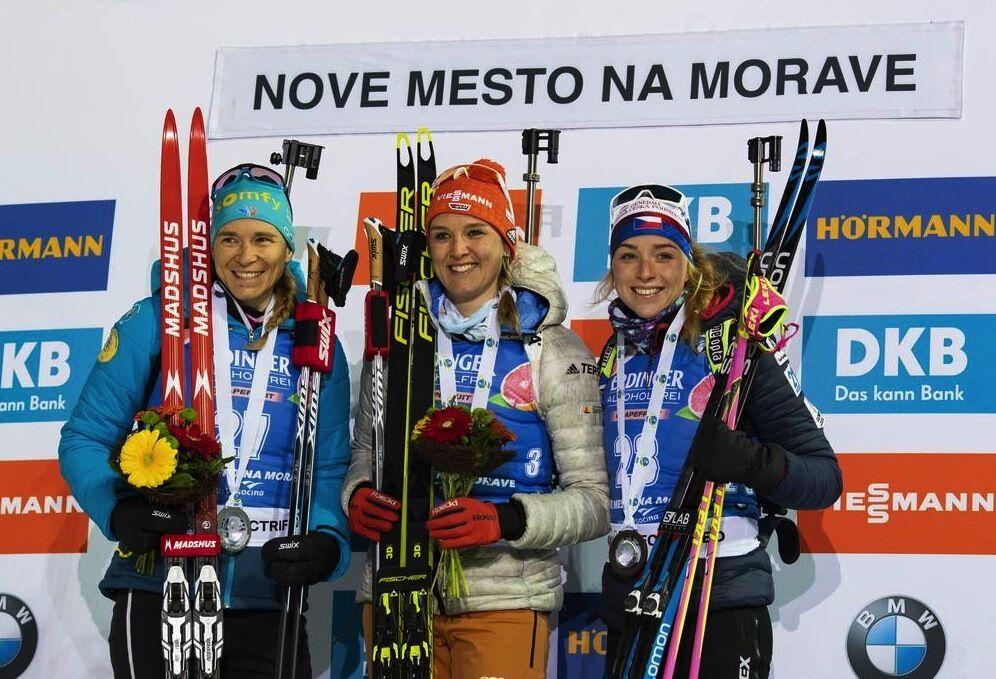 05.03.2020, Nove Mesto, Czech Republic (CZE):Anais Bescond (FRA), Denise Herrmann (GER), Marketa Davidova (CZE), (l-r) - IBU world cup biathlon, sprint women, Nove Mesto (CZE). www.nordicfocus.com. © Manzoni/NordicFocus. Every downloaded picture is fee-