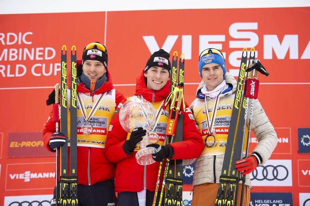 07.03.2020, Oslo, Norway (NOR):Joergen Graabak (NOR), Jarl Magnus Riiber (NOR), Vinzenz Geiger (GER), (l-r) - FIS world cup nordic combined, individual gundersen HS134/10km, Oslo (NOR). www.nordicfocus.com. © THIBAUT/NordicFocus. Every downloaded pictur