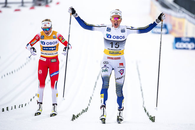 07.03.2020, Oslo, Norway (NOR):Therese Johaug (NOR), Frida Karlsson (SWE), (l-r)  - FIS world cup cross-country, mass women, Oslo (NOR). www.nordicfocus.com. © Modica/NordicFocus. Every downloaded picture is fee-liable.