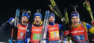 07.03.2020, Nove Mesto, Czech Republic (CZE):Sebastian Samuelsson (SWE), Jesper Nelin (SWE), Peppe Femling (SWE), Martin Ponsiluoma (SWE), (l-r) - IBU world cup biathlon, relay men, Nove Mesto (CZE). www.nordicfocus.com. © Manzoni/NordicFocus. Every dow
