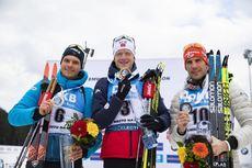 08.03.2020, Nove Mesto, Czech Republic (CZE):Emilien Jacquelin (FRA), Johannes Thingnes Boe (NOR), Arnd Peiffer (GER), (l-r) - IBU world cup biathlon, mass men, Nove Mesto (CZE). www.nordicfocus.com. © Manzoni/NordicFocus. Every downloaded picture is fe