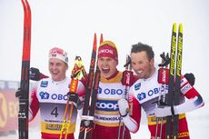 08.03.2020, Oslo, Norway (NOR):Simen Hegstad Krueger (NOR), Alexander Bolshunov (RUS), Emil Iversen (NOR), (l-r)  - FIS world cup cross-country, mass men, Oslo (NOR). www.nordicfocus.com. © Modica/NordicFocus. Every downloaded picture is fee-liable.