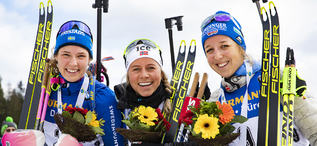 08.03.2020, Nove Mesto, Czech Republic (CZE):Hanna Oeberg (SWE), Tiril Eckhoff (NOR), Franziska Preuss (GER), (l-r) - IBU world cup biathlon, mass women, Nove Mesto (CZE). www.nordicfocus.com. © Manzoni/NordicFocus. Every downloaded picture is fee-liabl