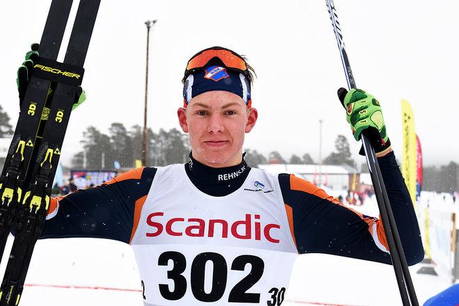 TRULS GISSELMAN, Rehns BK åkte ett klokt lopp och vann H19-20 i masstarten under JSM i Åsarna sedan han kämpat ner Johan Ekberg från Nacka Värmdö. Foto/rights: ROLF ZETTERBERG/kekstock.com