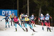 08.03.2020, Nove Mesto, Czech Republic (CZE):Quentin Fillon Maillet (FRA), Martin Fourcade (FRA), Vetle Sjaastad Christiansen (NOR), Tarjei Boe (NOR), (l-r) - IBU world cup biathlon, mass men, Nove Mesto (CZE). www.nordicfocus.com. © Manzoni/NordicFocus