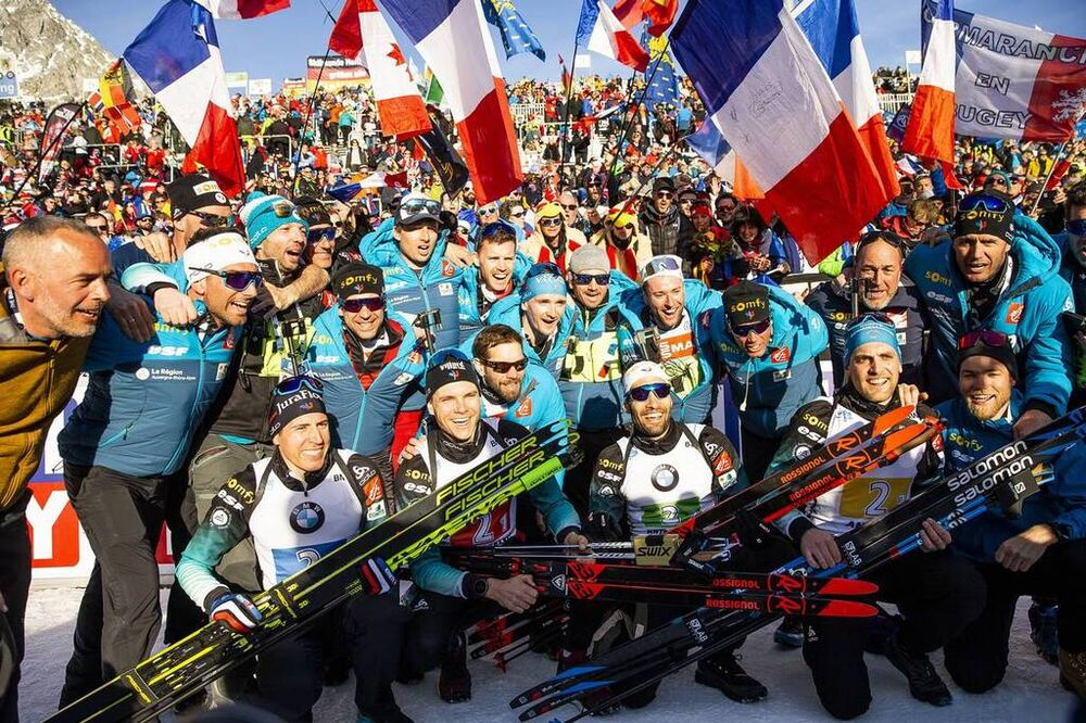 22.02.2020, Antholz, Italy (ITA):Emilien Jacquelin (FRA), Martin Fourcade (FRA), Simon Desthieux (FRA), Quentin Fillon Maillet (FRA), (l-r) - IBU World Championships Biathlon, relay men, Antholz (ITA). www.nordicfocus.com. © Modica/NordicFocus. Every do