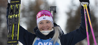 14.03.2020, Kontiolahti, Finland (FIN):Kaisa Makarainen (FIN) -  IBU world cup biathlon, pursuit women, Kontiolahti (FIN). www.nordicfocus.com. © Manzoni/NordicFocus. Every downloaded picture is fee-liable.