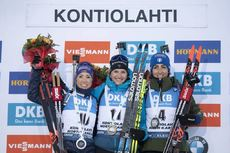 14.03.2020, Kontiolahti, Finland (FIN):Selina Gasparin (SUI), Julia Simon (FRA), Lisa Vittozzi (ITA), (l-r) -  IBU world cup biathlon, pursuit women, Kontiolahti (FIN). www.nordicfocus.com. © Manzoni/NordicFocus. Every downloaded picture is fee-liable.