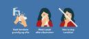 Illustrasjon som viser god smittehygiene: vask hendene ofte, host i papirlommetørkle eller albuen, ikke ta deg i ansiktet