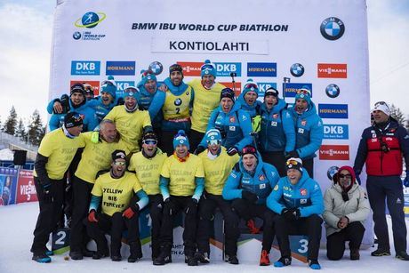 14.03.2020, Kontiolahti, Finland (FIN):Vincent Vittoz (FRA), coach team France, Simon Desthieux (FRA), Martin Fourcade (FRA), Patrick Favre (ITA), Quentin Fillon Maillet (FRA), Fabien Claude (FRA), Emilien Jacquelin (FRA), (l-r) -  IBU world cup biathlon