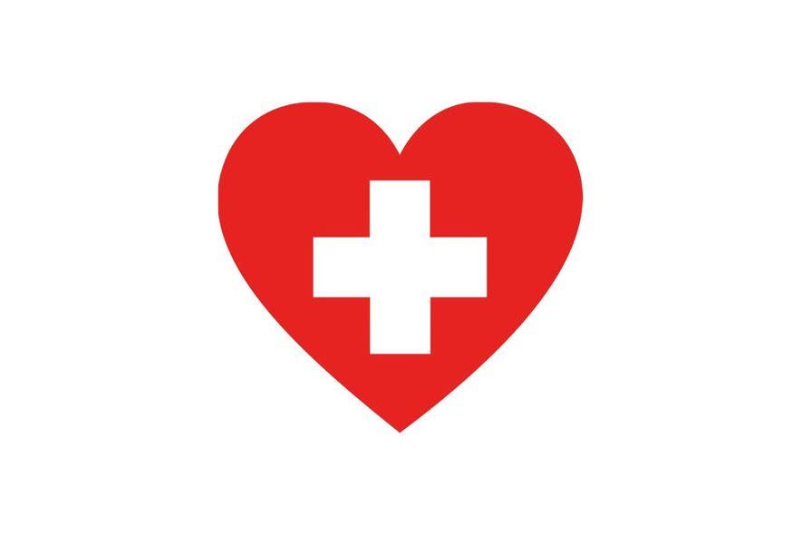 Illustrasjon et rødt hjerte med hvitt kors