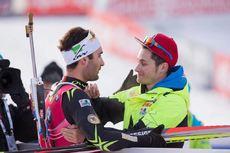 14.12.2014, Hochfilzen, Austria (AUT): Martin Fourcade (FRA), Alexis Boeuf (FRA)- IBU world cup biathlon, pursuit men, Hochfilzen (AUT). www.nordicfocus.com. © Manzoni/NordicFocus. Every downloaded picture is fee-liable.