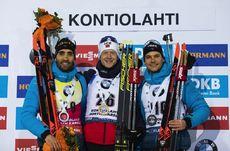 12.03.2020, Kontiolahti, Finland (FIN):Martin Fourcade (FRA), Johannes Thingnes Boe (NOR), Emilien Jacquelin (FRA), (l-r) -  IBU World Cup Biathlon, sprint men, Kontiolahti (FIN). www.nordicfocus.com. © Manzoni/NordicFocus. Every downloaded picture is f