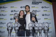 19.03.2017, Oslo, Norway (NOR):Laura Dahlmeier (GER), Martin Fourcade (FRA), (l-r) -  IBU world cup biathlon, cups, Oslo (NOR). www.nordicfocus.com. © Manzoni/NordicFocus. Every downloaded picture is fee-liable.