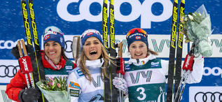 23.02.2020, Trondheim, Norway (NOR):Heidi Weng (NOR), Therese Johaug (NOR), Ingvild Flugstad Oestberg (NOR), (l-r) - FIS world cup cross-country, pursuit women, Trondheim (NOR). www.nordicfocus.com. © Thibaut/NordicFocus. Every downloaded picture is fee