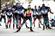 23.02.2020, Antholz, Italy (ITA):Johannes Thingnes Boe (NOR), Martin Fourcade (FRA), Quentin Fillon Maillet (FRA), (l-r) - IBU world championships biathlon, mass men, Antholz (ITA). www.nordicfocus.com. © Modica/NordicFocus. Every downloaded picture is