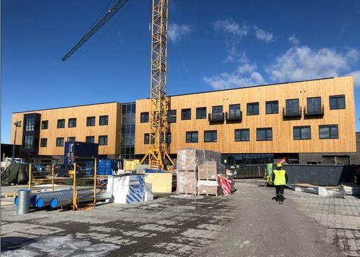 Byggeplass for Lunner helse- og omsorgssenter 24.mars 2020