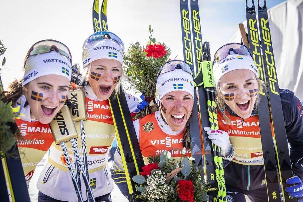 28.02.2019, Seefeld, Austria (AUT):Ebba Andersson (SWE), Frida Karlsson (SWE), Charlotte Kalla (SWE), Stina Nilsson (SWE), (l-r)  - FIS nordic world ski championships, cross-country, 4x5km women, Seefeld (AUT). www.nordicfocus.com. © Modica/NordicFocus.