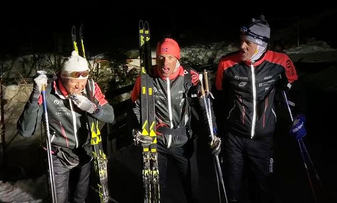 """516 KM PÅ EN TUR! Joar Thele (tv), Anders Aukland och Jørgen Aukland slog tillbaka direkt och satte ett """"rekord"""" som lär bli mycket svårslaget. Foto: PRIVAT"""