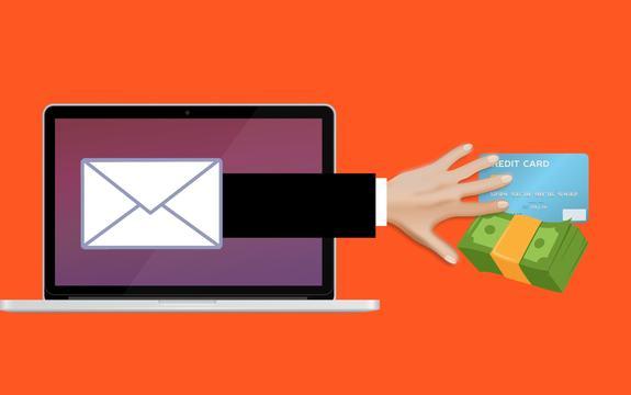 Illustrasjonsbilde: En hånd strekker seg ut av en dataskjerm og griper etter et kredittkort og en seddelbunke.
