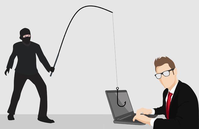 Illustrasjonsbilde: En skurk har kastet fiskekroken på datamaskinen til en dresskledd herre.