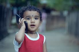 kid on cell phone
