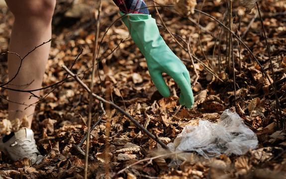 En hånd med gummihanske strekker seg etter et stykke plast blant høstløvene.