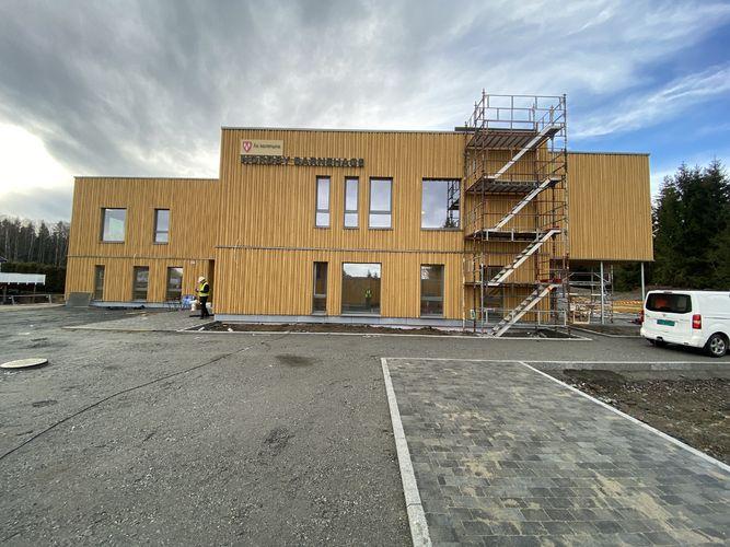 Ferdig fasade mars 2020. Foto: Jostein Aadalen/Ås kommune.