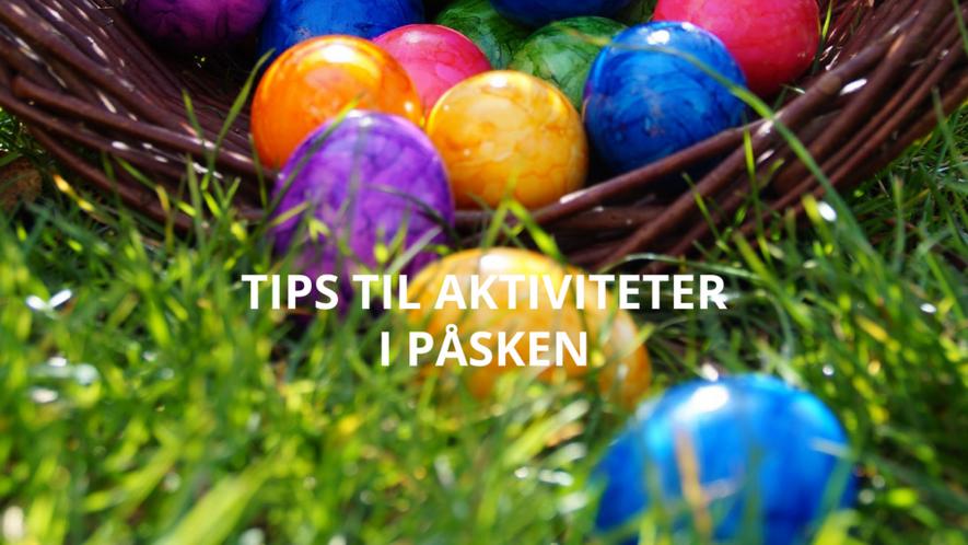 """Egg i en kurv på gresset med tittelen """"Aktiviteter i påsken"""""""
