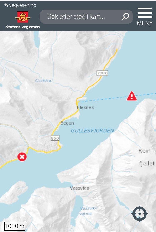 Kart over stengte veistrekninger