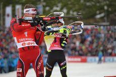 04.01.2014, Oberhof, Germany (GER): Emil Hegle Svendsen (NOR), Martin Fourcade (FRA)- IBU world cup biathlon, pursuit men, Oberhof (GER). www.nordicfocus.com. © Manzoni/NordicFocus. Every downloaded picture is fee-liable.